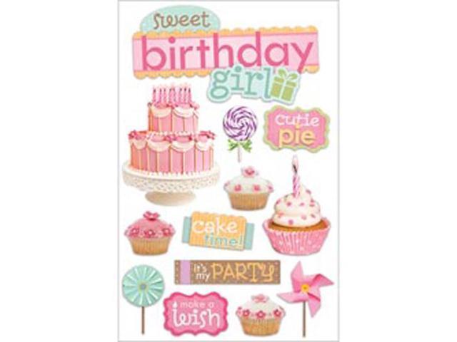 Paper House 3-D Sticker-Sweet Birthday Girl