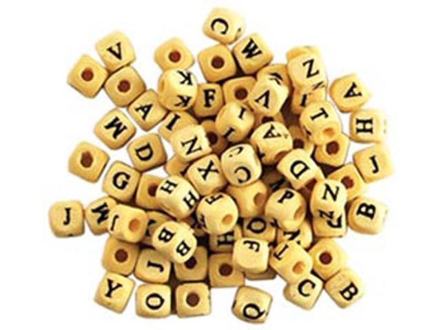Wood Alphabet Beads 8mm 70/Pkg-Natural