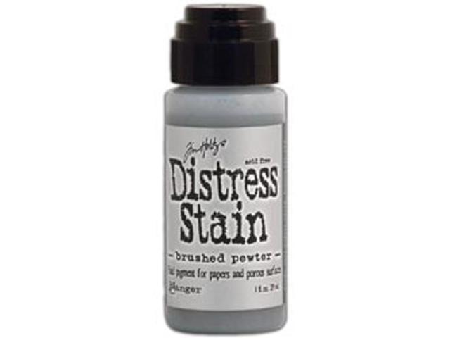 Tim Holtz Distress Stain 1 Ounce-Brushed Pewter - Metallic