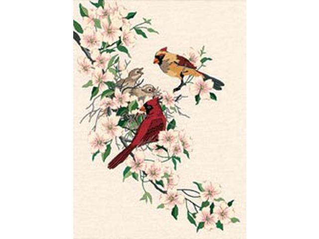 """Cardinals In Dogwood Crewel Kit-11""""X15"""" Stitched In Wool & Thread"""