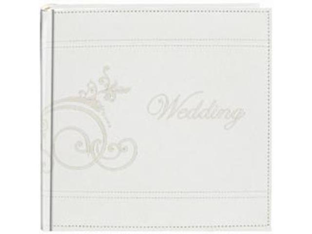 Embroidered Scroll Leatherette White Photo Album         -Holds 2-Up 4