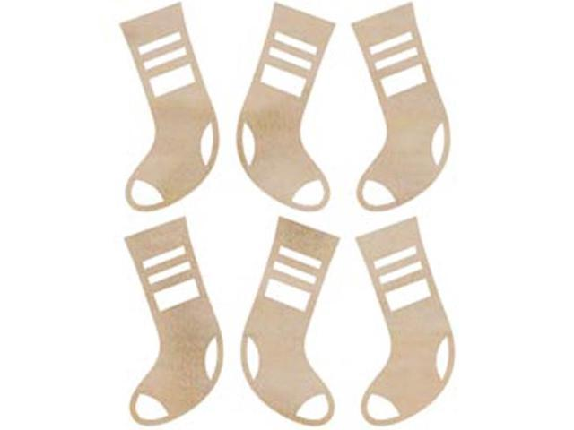 Wood Flourishes-Mini Stockings 6/Pkg
