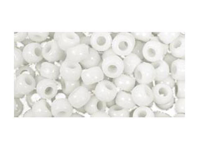Barrel Pony Beads 6mmX9mm 175/Pkg-White