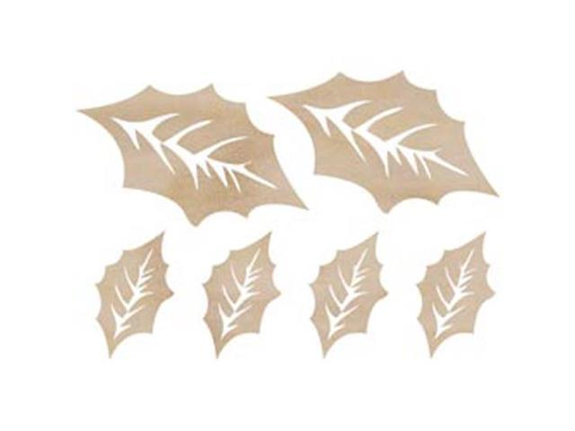 Wood Flourishes-Holly Leaves 6/Pkg