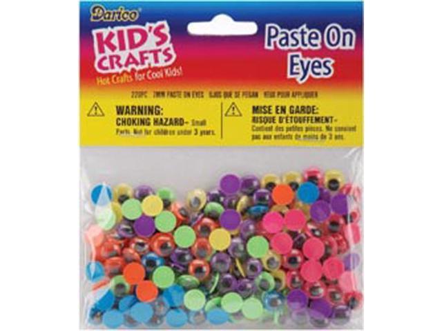 Paste-On Wiggle Eyes 7mm 220/Pkg-Black On Neon