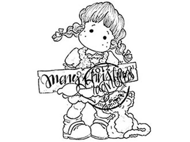 Little Christmas Cling Stamp-Christmas Tilda With Cat