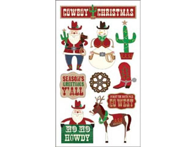 Sticko Christmas Stickers-Glitter Cowboy Christmas
