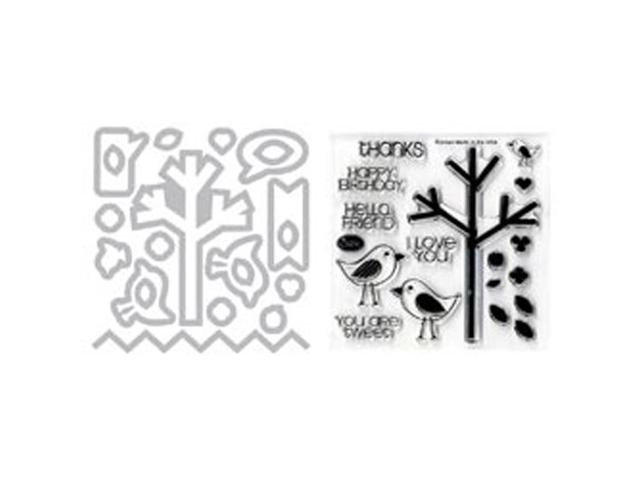 Sizzix Framelits Dies 20/Pkg W/Clear Stamps-Birds & Tree