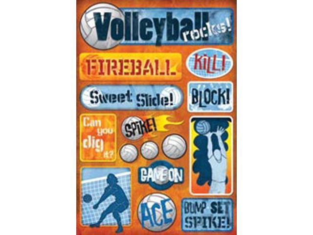 Volleyball Cardstock Stickers 5.5