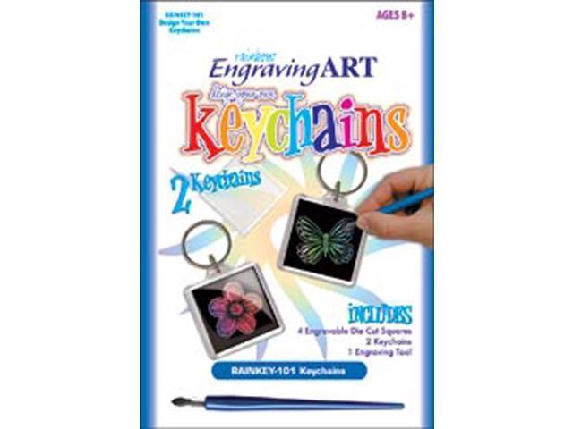 Rainbow Engraving Art Keychain-