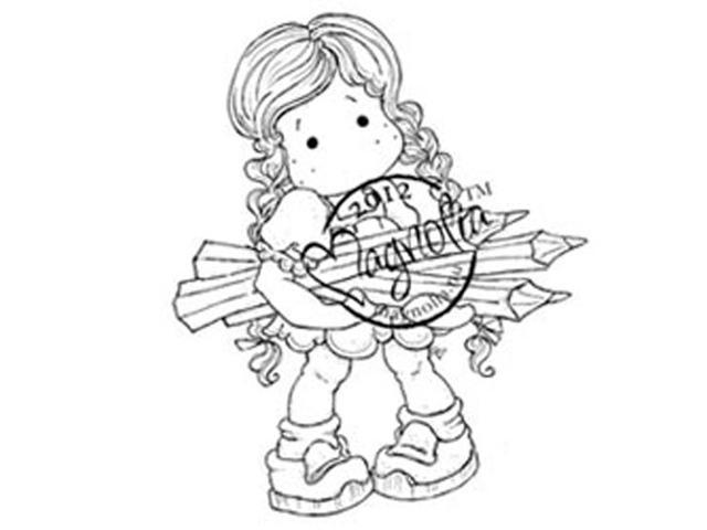 Turning Leaves Cling Stamp-Autumn Tilda With Pencils