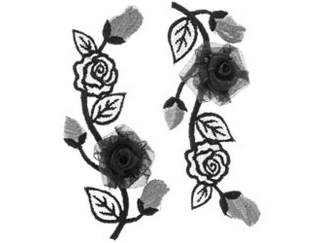 Elegant Expression Black & Silver Flower Applique-2/Pkg