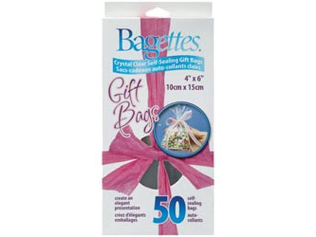 """Bagettes Self-Sealing Gift Bags 4""""X6"""" 50/Pkg-Clear"""