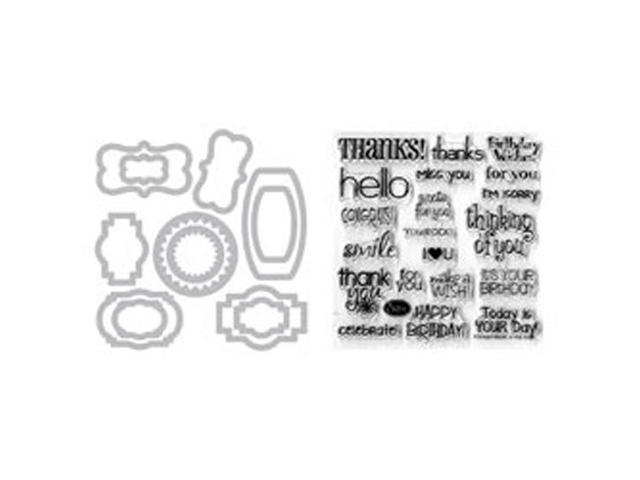 Sizzix Framelits Dies 12/Pkg W/Clear Stamps-Phrases