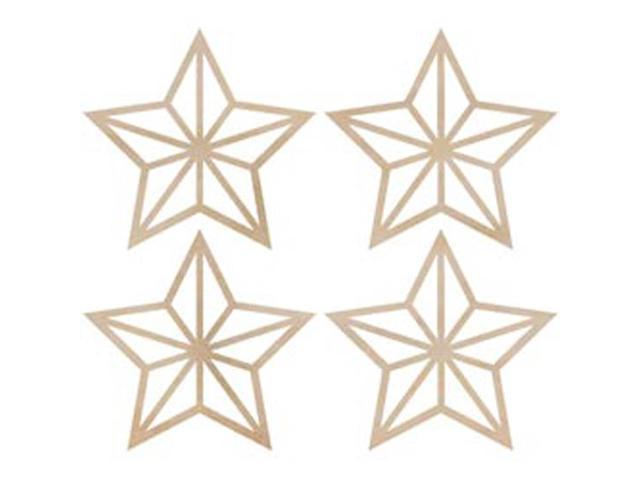 Wood Flourishes-Mini Stars 4/Pkg