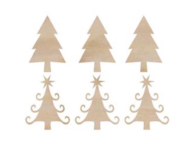 Wood Flourishes-Mini Christmas Trees 6/Pkg