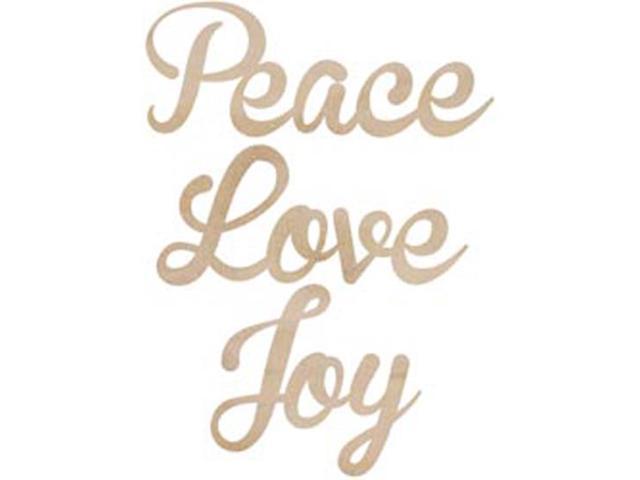 Wood Flourishes-Love; Peace; Joy Words