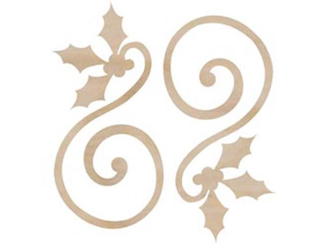 Wood Flourishes-Holly Curl 2/Pkg