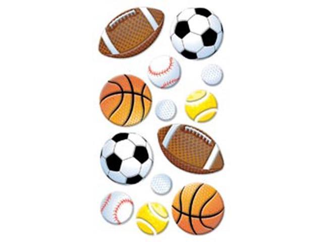 Puffy Dimensional Stickers-Sport Balls