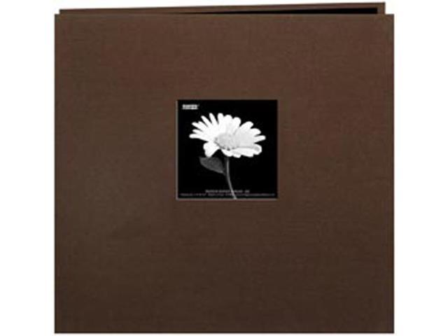 "Book Cloth Cover Postbound Album With Window 12""X12""-Brown"