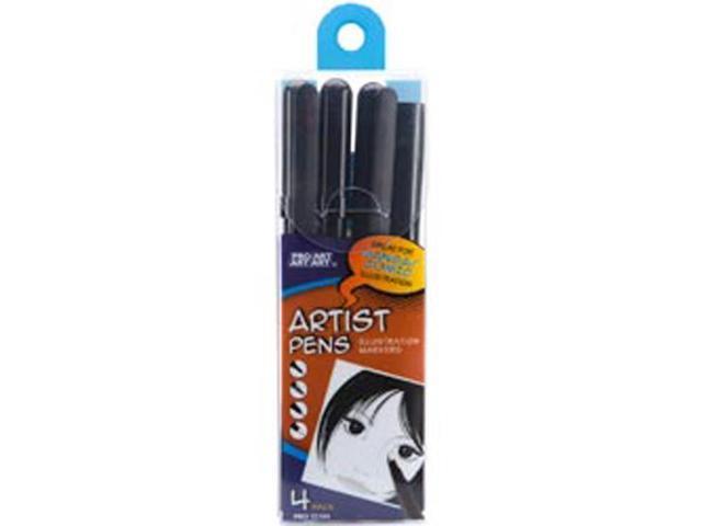 Pro Art Black Artist Pens 4/Pkg-