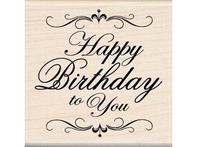 Inkadinkado Mounted Rubber Stamp-Happy Birthday To You