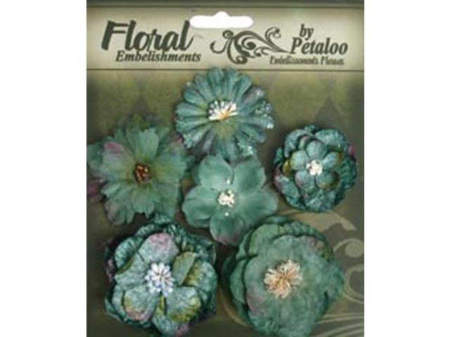 Floral Embellishments Mixed Blooms 6/Pkg-Blue/Green