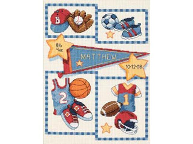 Baby Hugs Little Sports Birth Record Counted Cross Stitch Ki-9
