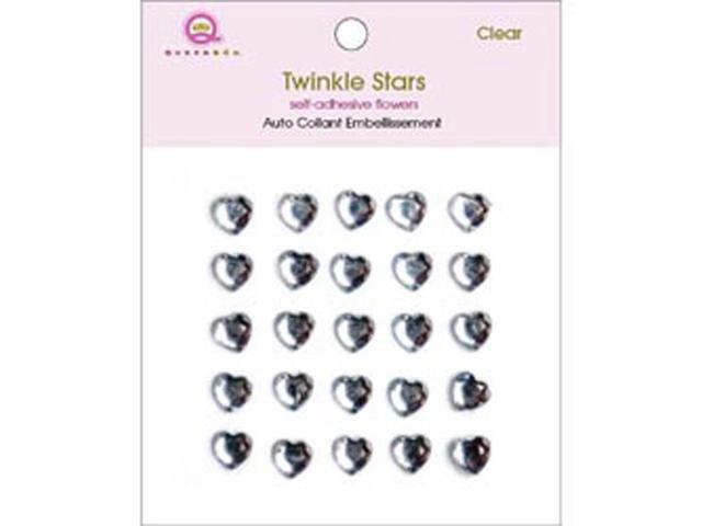 Twinkle Self-Adhesive 8mm Embellishments 25/Pkg-Hearts/Clear