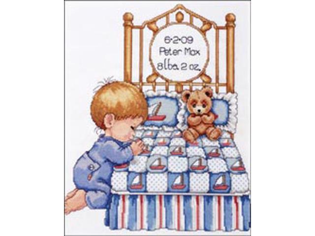 Bedtime Prayer Boy Birth Record Counted Cross Stitch Kit-11