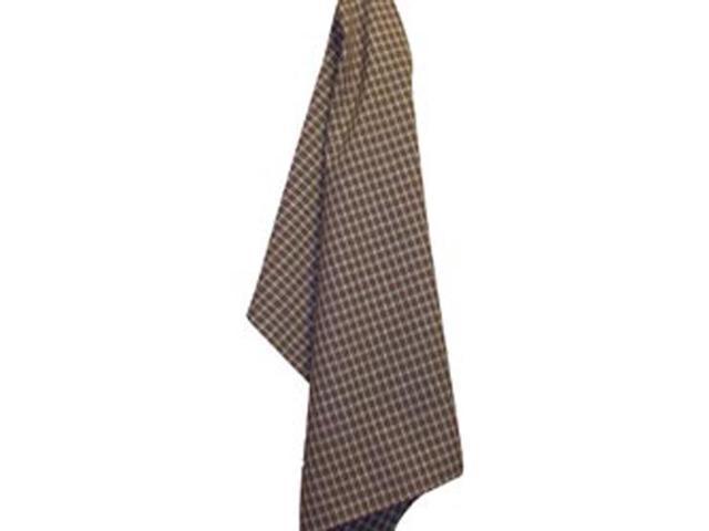 Cream Windowpane Plain Weave Towel-Brown
