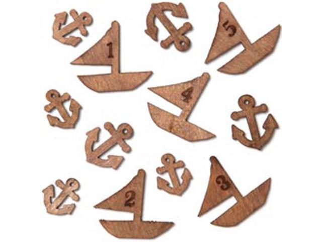 Atlantic Laser-Cut Wood Veneer Shapes-Boats & Anchors