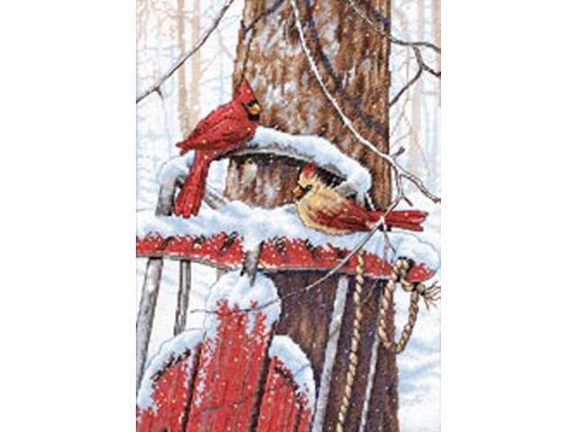 Cardinals On Sled Counted Cross Stitch Kit-10