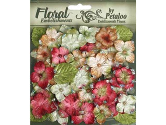 Floral Embellishments Velvet Hydrangeas With Glitter 36/Pkg-Red
