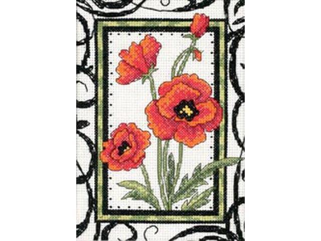 Blooming Poppies Mini Counted Cross Stitch Kit-5