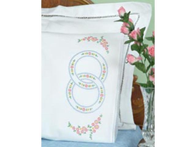 Stamped Pillowcases With White Lace Edge 2/Pkg-Wedding Rings