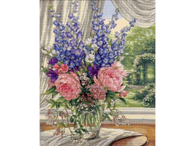 Gold Collection Peonies/Delphiniums Counted Cross Stitch Kit-12