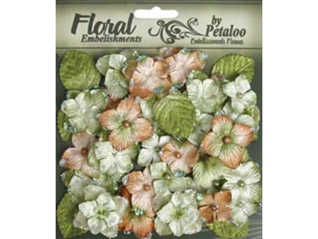 Floral Embellishments Velvet Hydrangeas With Glitter 36/Pkg-Sage
