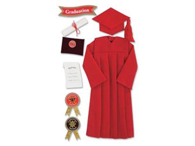 Jolee's Boutique Le Grande Dimensional Graduation Sticker-Graduation Cap & Gown/Red