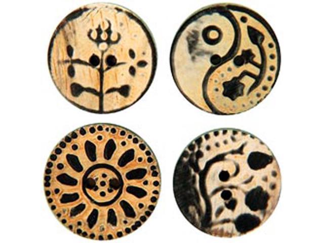 Handmade Horn Buttons-Circle Flower Carvings 4/Pkg