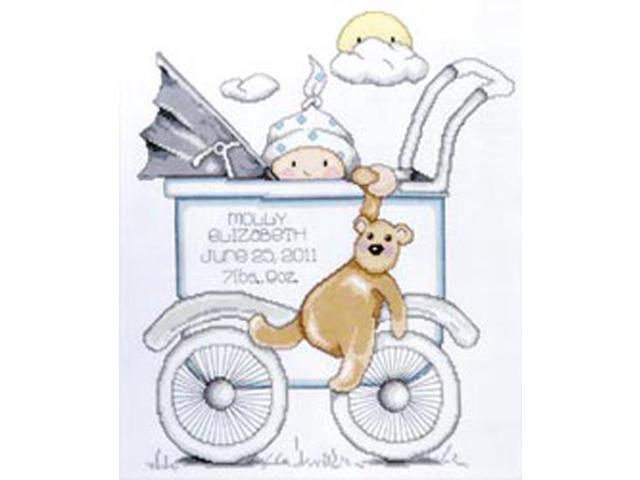 Baby Buggy Boy Birth Record Counted Cross Stitch Kit-13