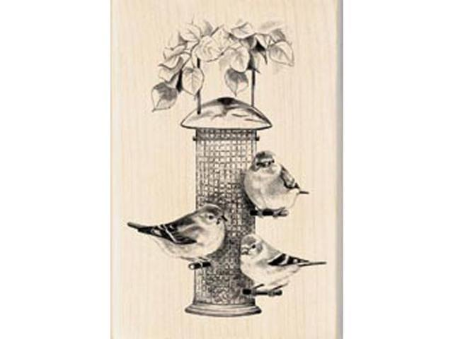 Inkadinkado Wood Mounted Rubber Stamp-Birds Feeder