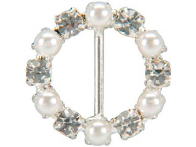 Genuine Rhinestone Buckle 30mm Circle-Silver/Pearl