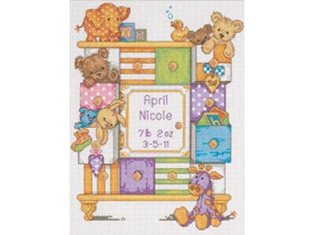 Baby Hugs Baby Drawers Birth Record Counted Cross Stitch Kit-9