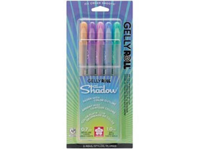 Gelly Roll Silver Shadow Pens 5/Pkg-Blue/Pink/Purple/Green/Orange