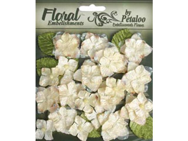 Floral Embellishments Velvet Hydrangeas With Glitter 36/Pkg-Cream