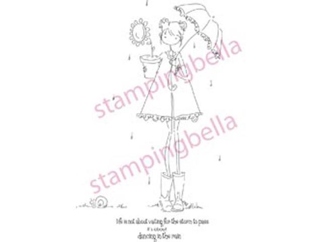 Stamping Bella Unmounted Rubber Stamp-Uptown Girl Lolly and Her Brolly