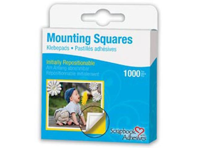 Repositionable Mounting Squares 1000/Pkg-White .5