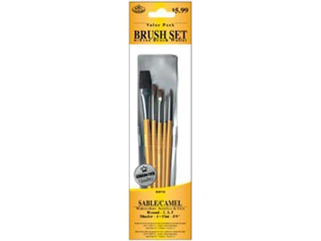 Brush Set Value Pack Sable/Camel 5/Pkg-Shader 4 Round 1,3,5 Flat 5/8