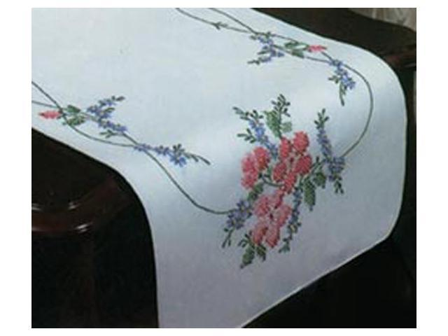Stamped Dresser Scarf For Embroidery-Wild Rose
